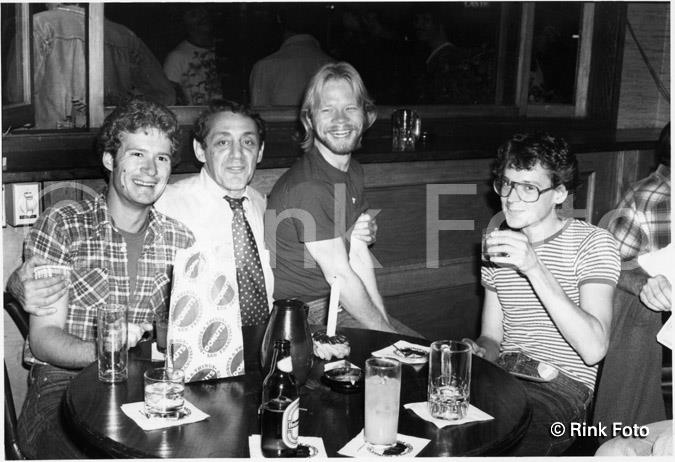 Harvey Milk (second from left) with friends, including activist Cleve Jones (far right)  Photo (c) by Rink Foto