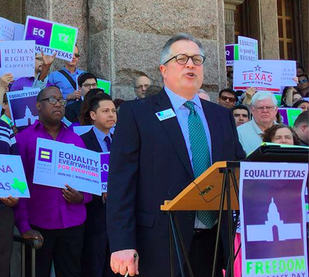 Equality Texas Executive Director Chuck Smith speaking at the Texas State Capitol on Freedom Advocacy Day earlier this year