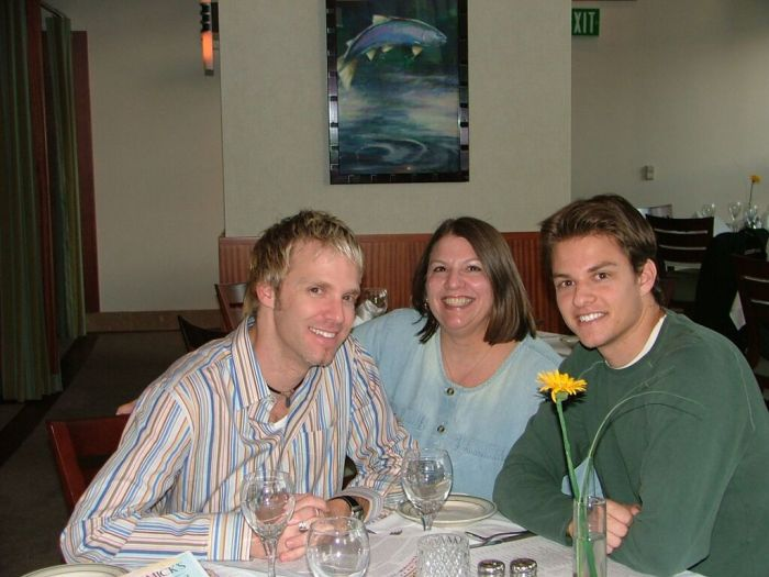 Mom with my brother and me, 2004